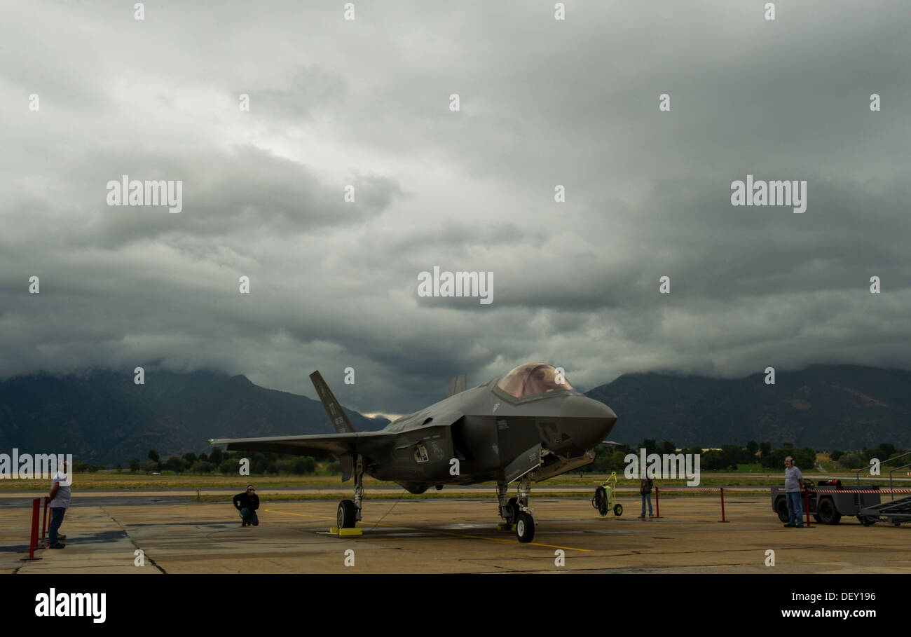 F-35A Lightning II Joint Strike Fighter ever to land at Hill Air Force Base, Utah, arrives here the afternoon of Sept. 13. The - Stock Image
