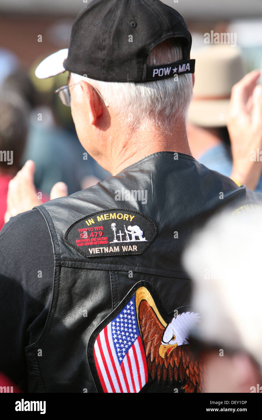 A Vietnam veteran listens during a POW MIA recognition service at Andersonville National Historic Site. More than 200 attendees - Stock Image
