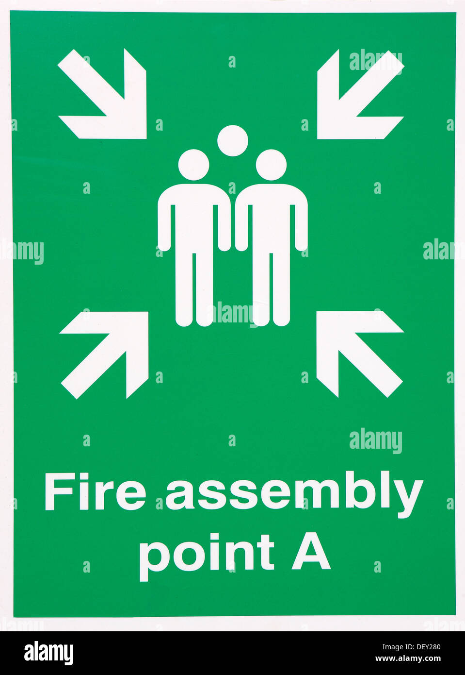 Fire assembly point cut out on a white background - Stock Image