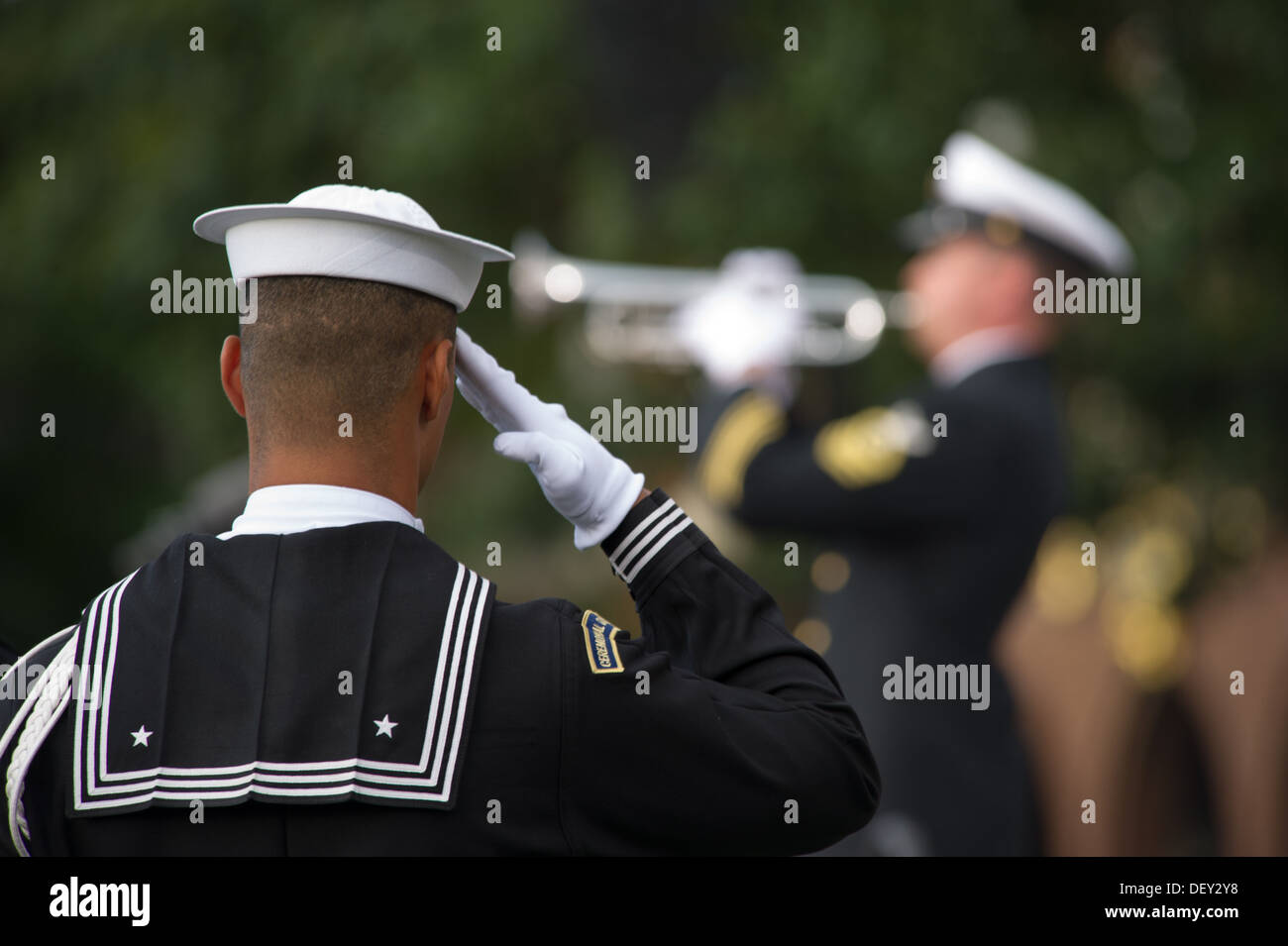 A Sailor salutes during the playing of Taps during a memorial for those killed during a shooting at the Navy Yard, Stock Photo