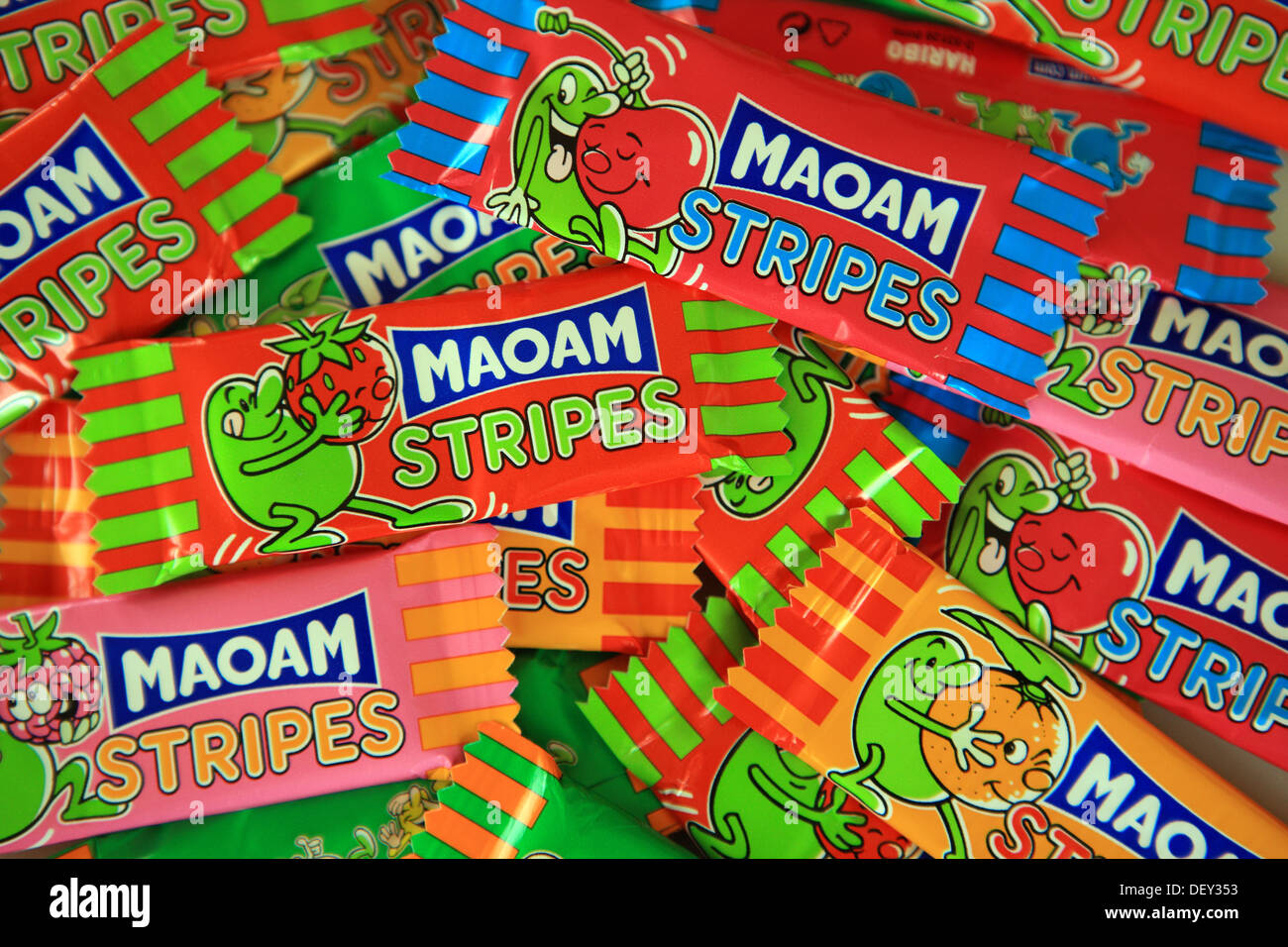 Children's fruit flavoured chewy sweets, Maoam Stripes, in colourful wrappers - Stock Image