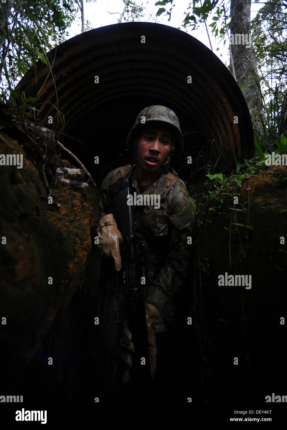 Naval Mobile Construction Battalion (NMCB) 3 Construction Mechanic 3rd Class Robert Cardona edges through a covered obstacle whi - Stock Image