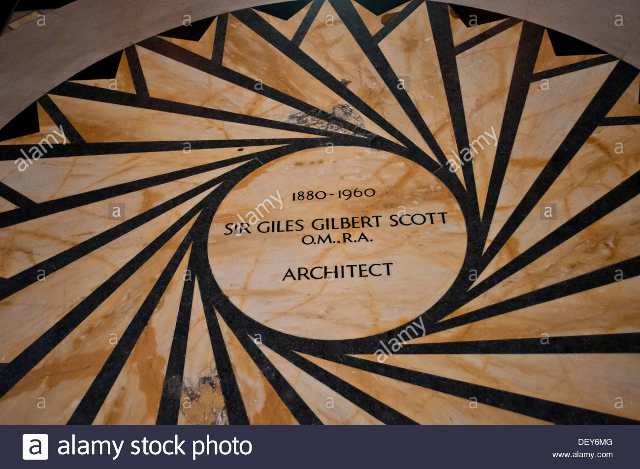 Plaque commemorating the architect of Liverpool Anglican Cathedral Sir Giles Gilbert Scott, Liverpool, UK - Stock Image