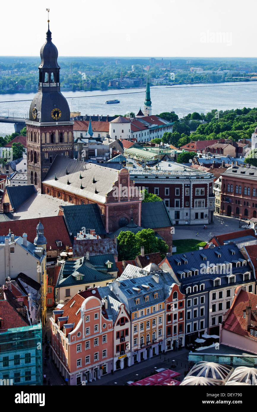 View of Riga, Latvia, taken from the tower of St. Peter's church. - Stock Image