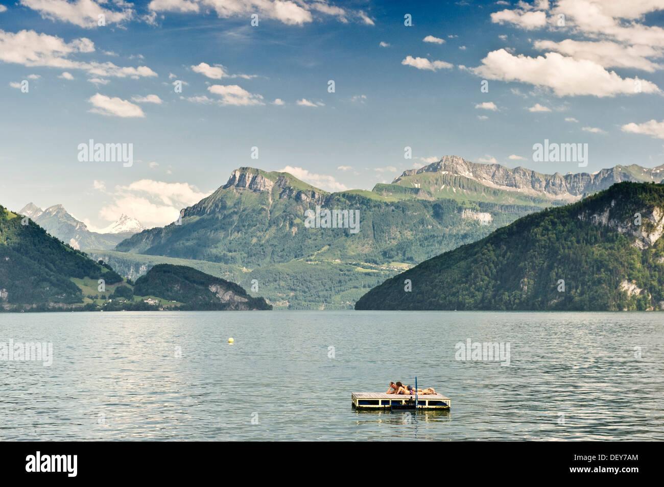 Lake Lucerne with a swimming island, Weggis, Canon of Lucerne, Switzerland, Europe - Stock Image