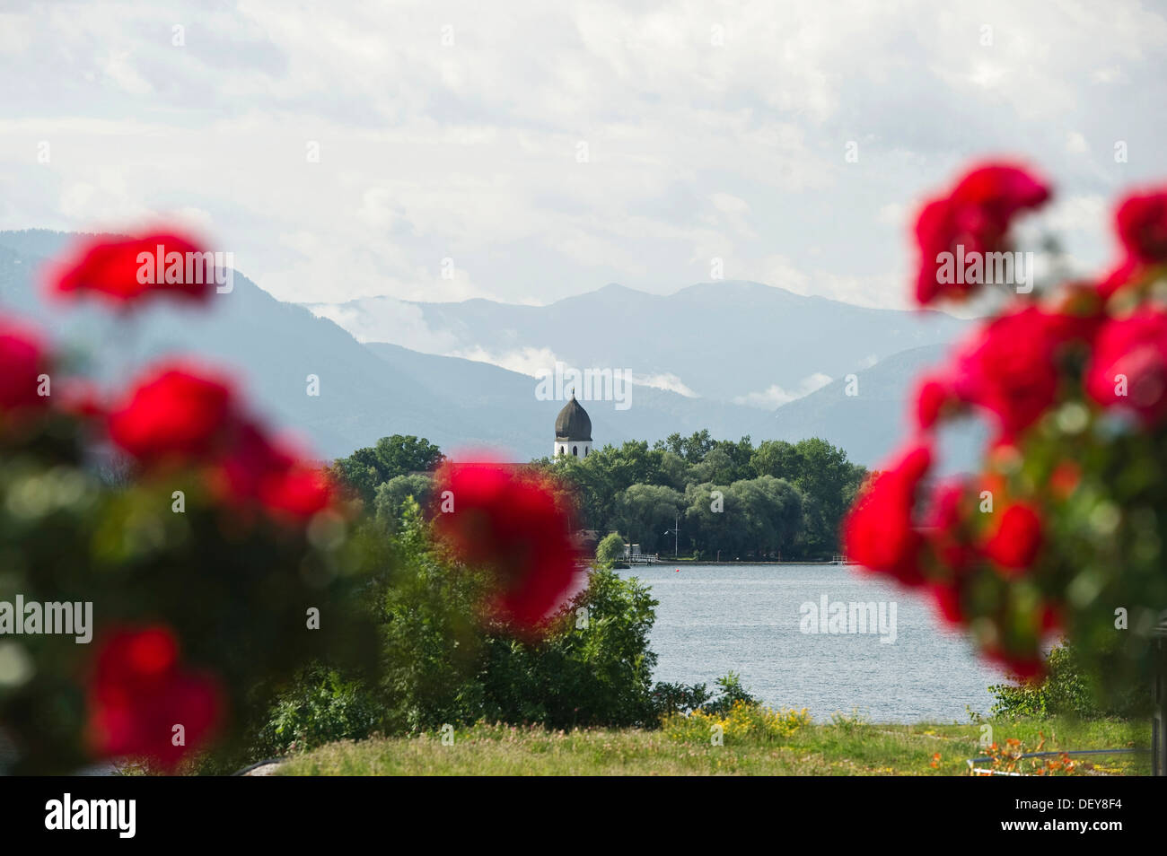 The island Frauenchiemsee or Fraueninsel, from Gstadt, Chiemsee Lake, Chiemgau region, Bavaria Stock Photo