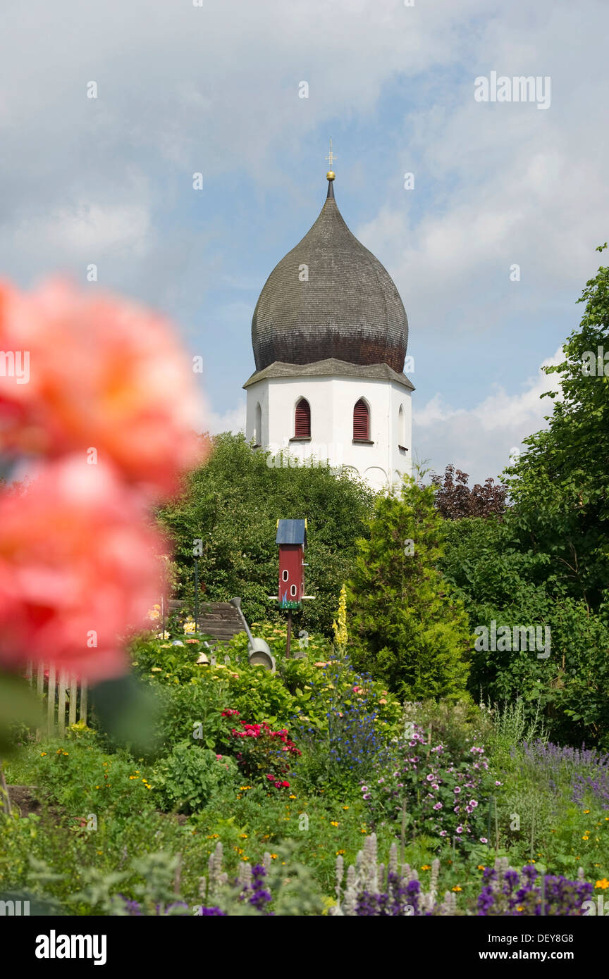 Monastery gardens on the island Frauenchiemsee or Fraueninsel, Chiemsee Lake, Chiemgau region, Bavaria Stock Photo