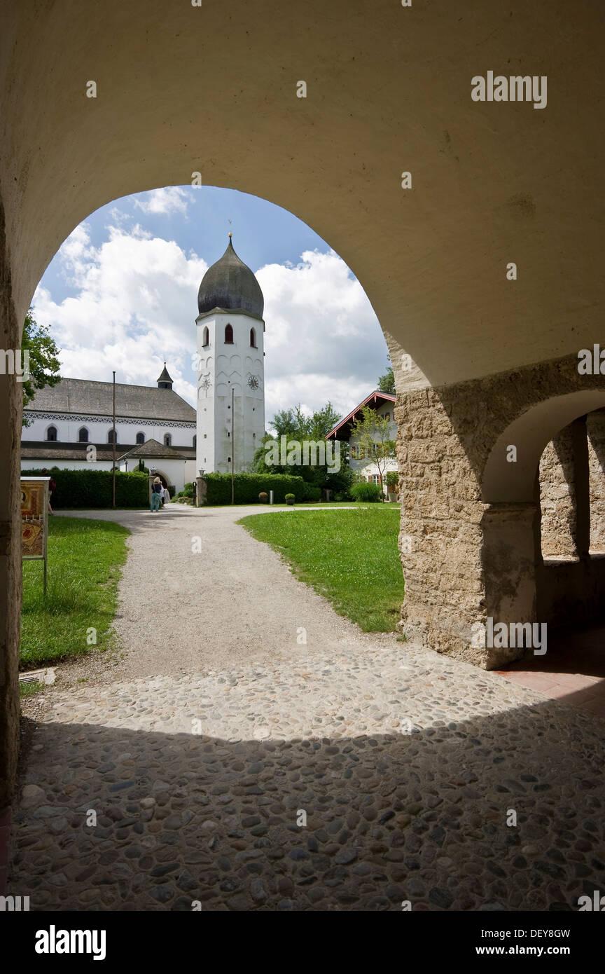 Kloster St Maria Abbey and Carolingian gatehouse, on the island Frauenchiemsee or Fraueninsel, Chiemsee Lake, Chiemgau Stock Photo