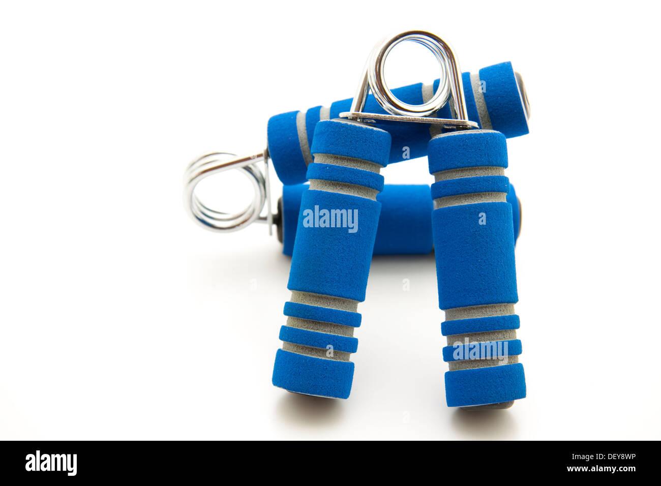 Blue Finger Dumbbell - Stock Image