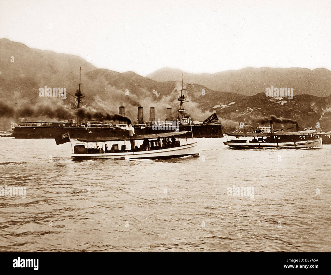 HMS Terrible in Hong Kong Harbour Victorian period - Stock Image