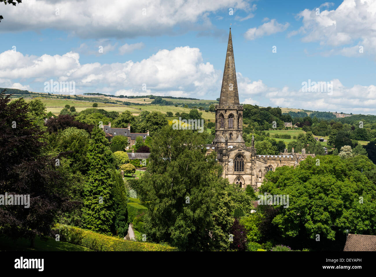 Bakewell Parish Church in the Peak District Derbyshire countryside England - Stock Image