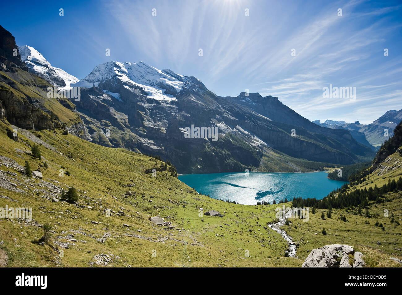 Oeschinensee lake, Kandersteg, Bernese Oberland, Canton of Bern, Switzerland, Europe - Stock Image