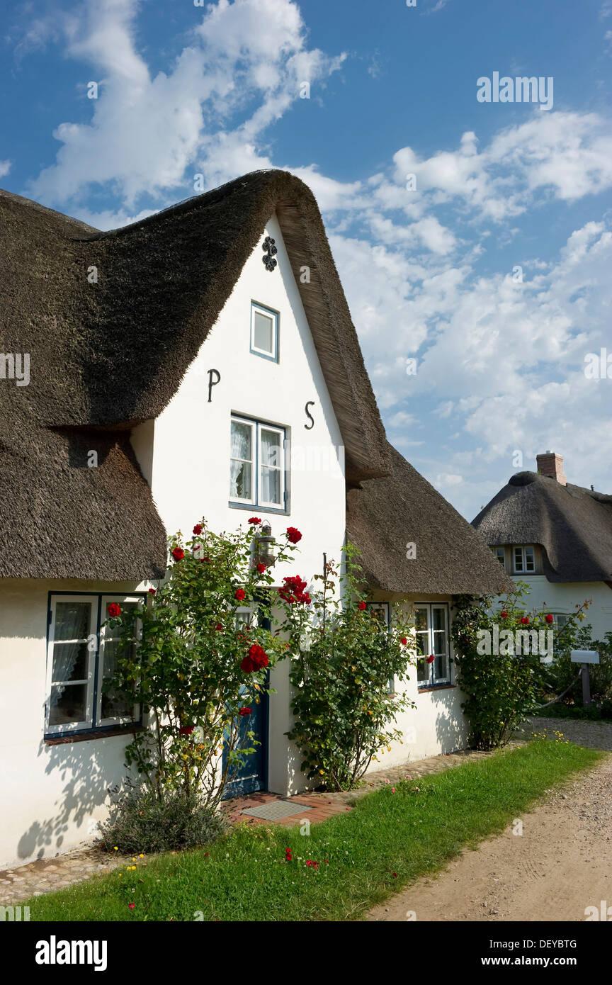Thatched cottage, Nebel, Amrum, North Frisian Islands, Schleswig-Holstein - Stock Image