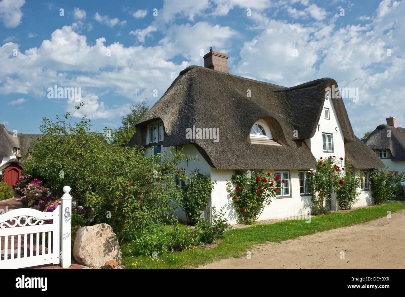 Thatched cottage, Nebel, Amrum, North Frisia, Schleswig-Holstein - Stock Image