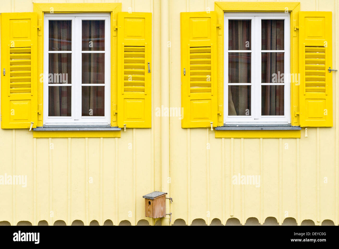 House facade with yellow shutters and a birdhouse, Freiburg im Breisgau, Black Forest, Baden-Wuerttemberg - Stock Image