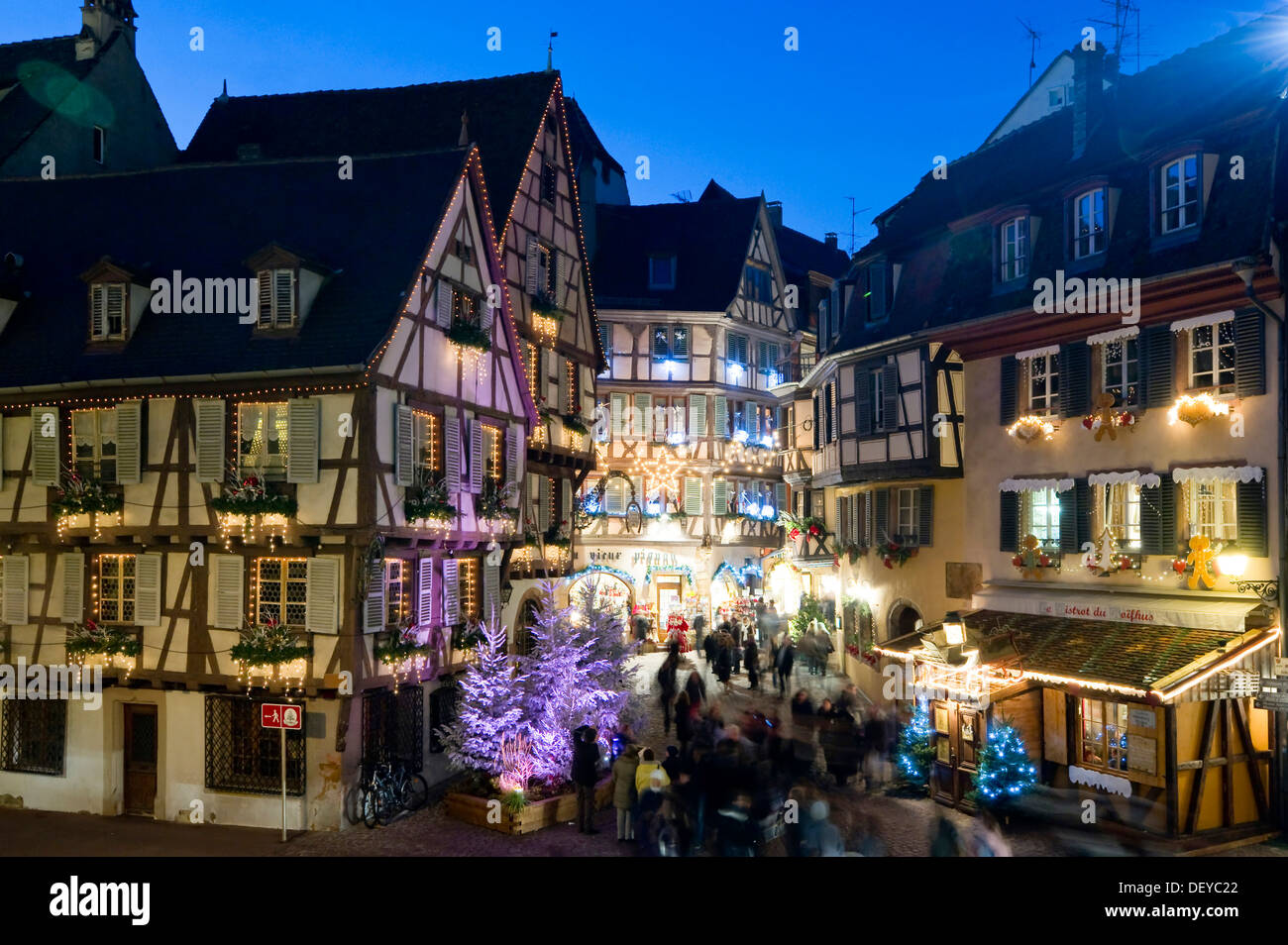 Historic district of Colmar with Christmas decorations, Alsace, France, Europe - Stock Image