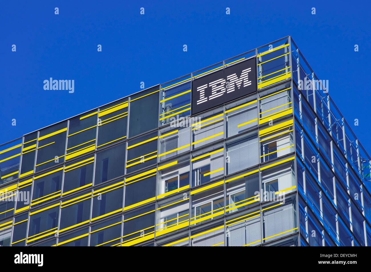 IBM logo on the front of the Hamburg IBM branch, Berliner Tor Centrum BTC, Hamburg - Stock Image