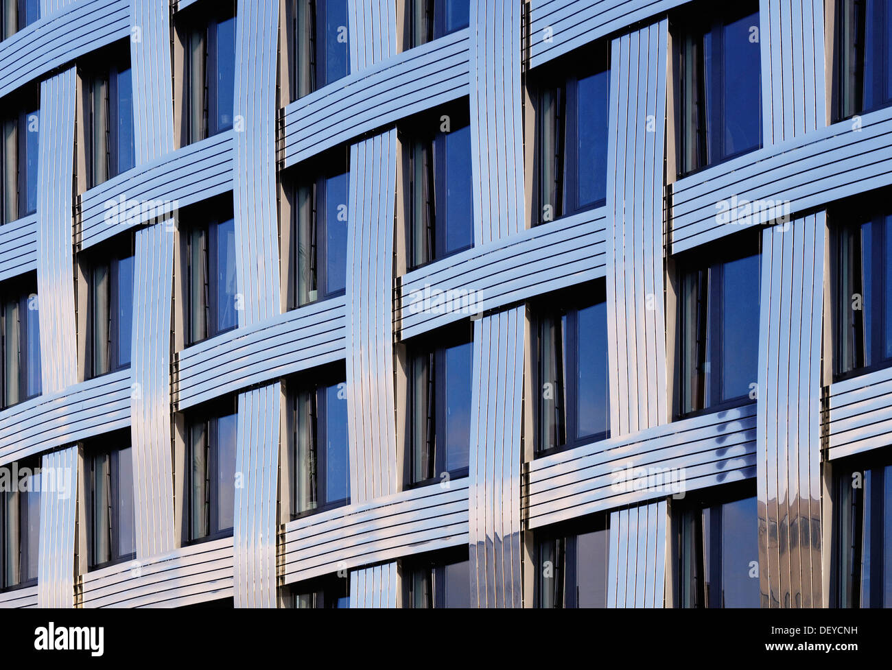 Modern architecture, detail on the facade of a modern office building, Hamburg - Stock Image