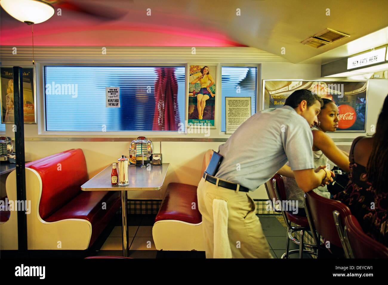 Johnny Rockets Restaurant, Miami, Florida, USA - Stock Image