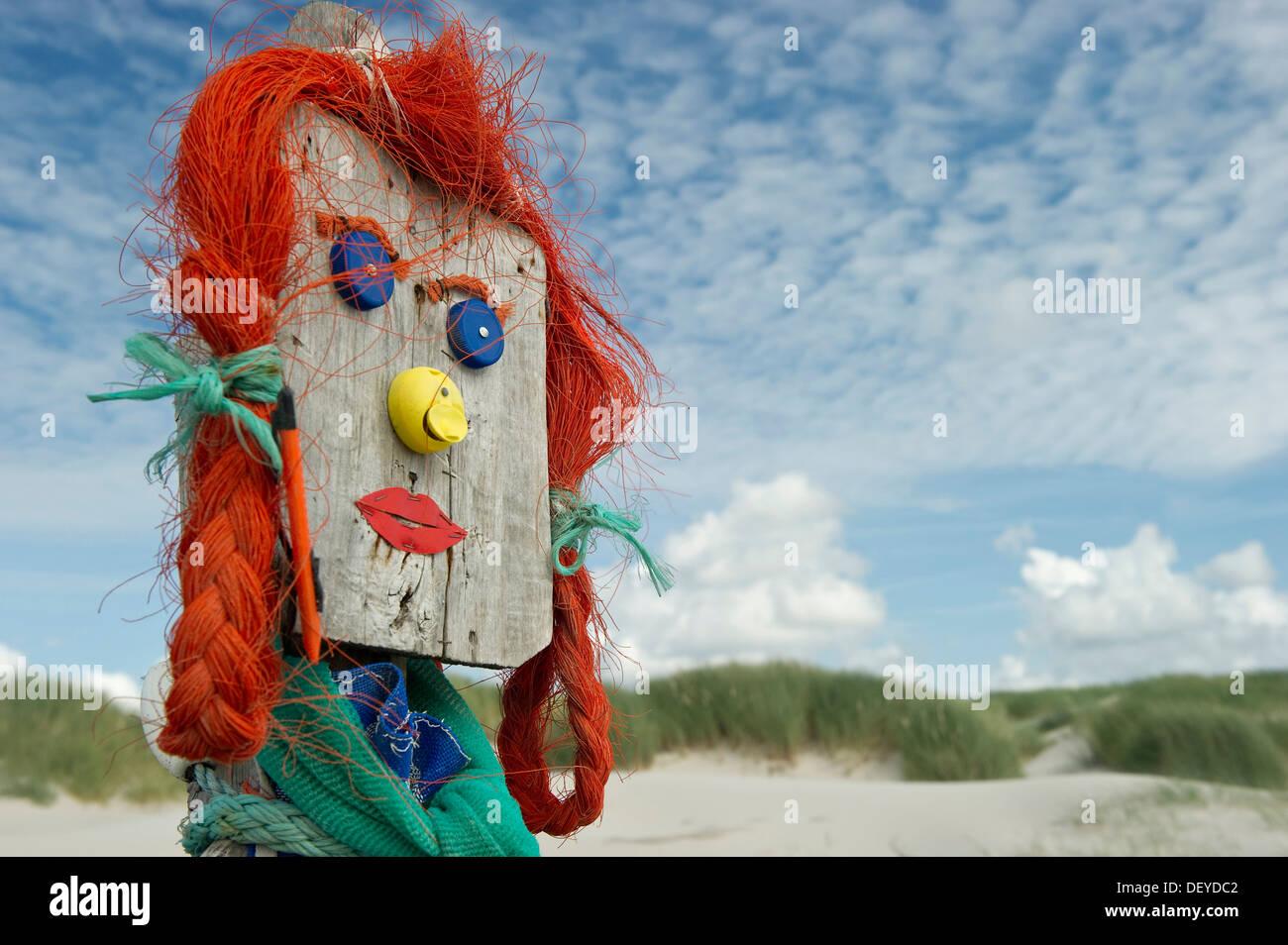 Figure made of flotsam and jetsam, Amrum, North Frisian Islands, Schleswig-Holstein - Stock Image