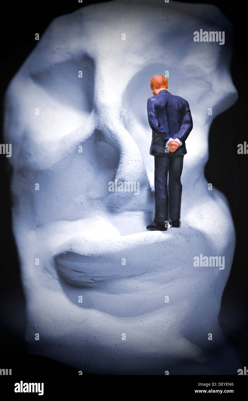 Lonely man on a distorted face, depression - Stock Image