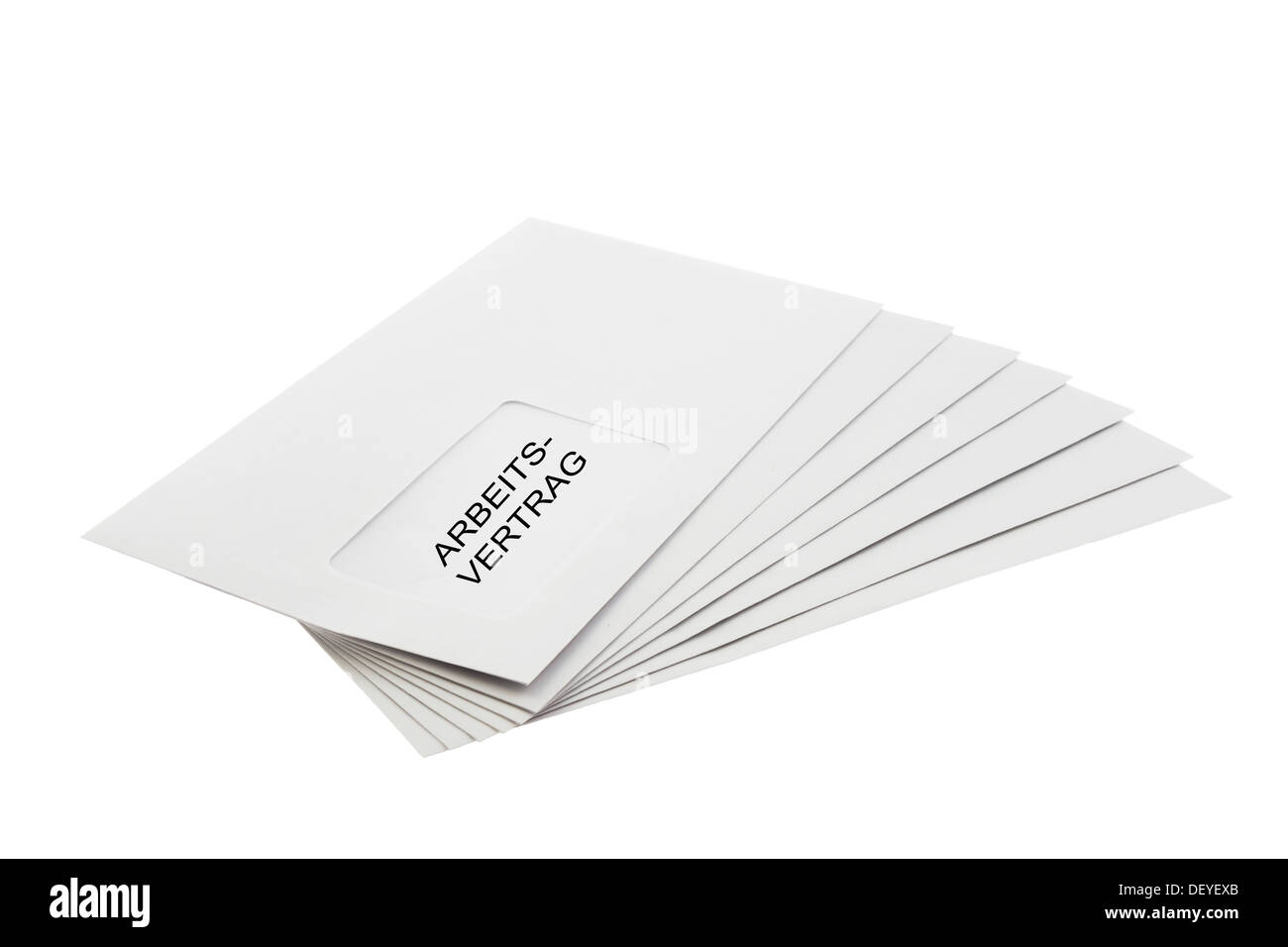 Arbeitsvertrag (German: contract of employment) Written on a batch of Envelopes isolated on White Background - Stock Image
