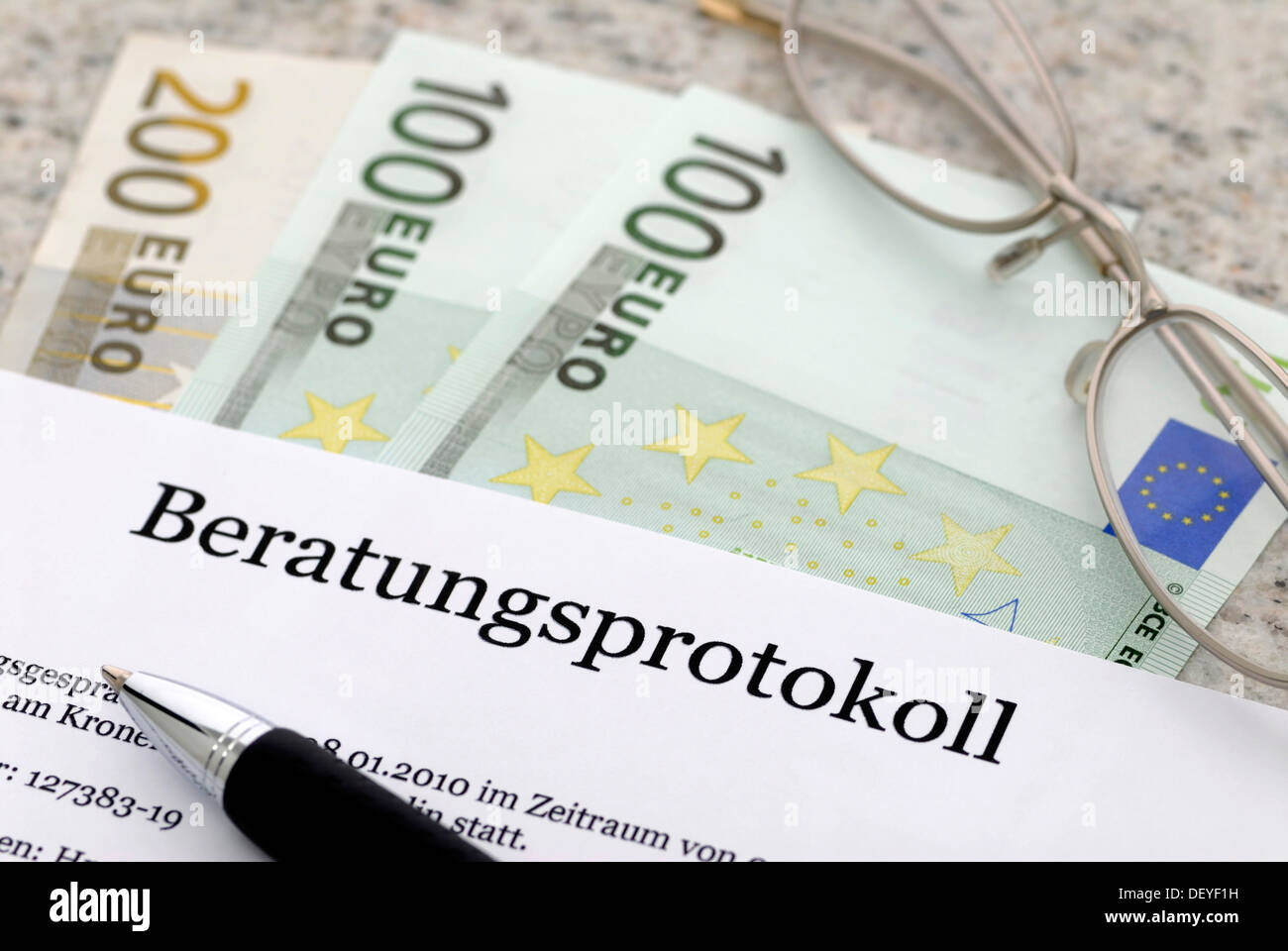 Consultation protocol for banking and insurance talks - Stock Image