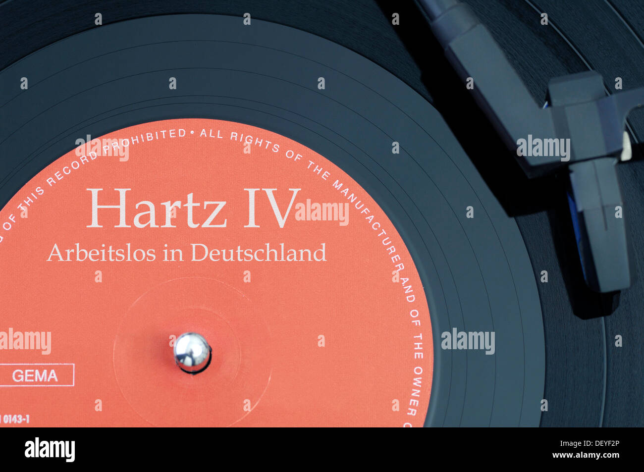 Record labeled 'Hartz IV' and 'Arbeitslos in Deutschland', unemployed in Germany - Stock Image