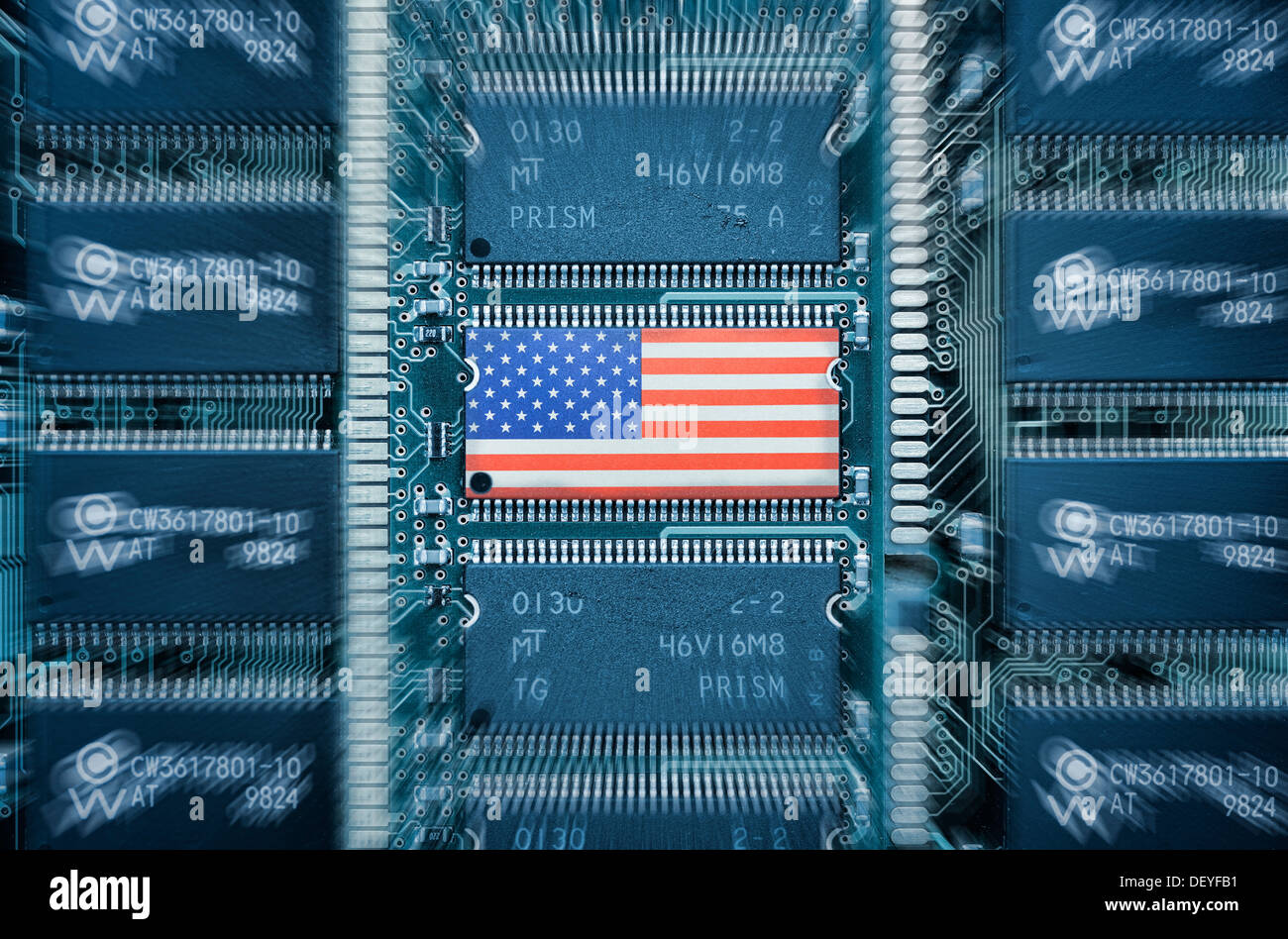 USA flag on computer platinum, prism Spaehprogramm, USA-Fahne auf Computerplatine, Prism Spähprogramm - Stock Image