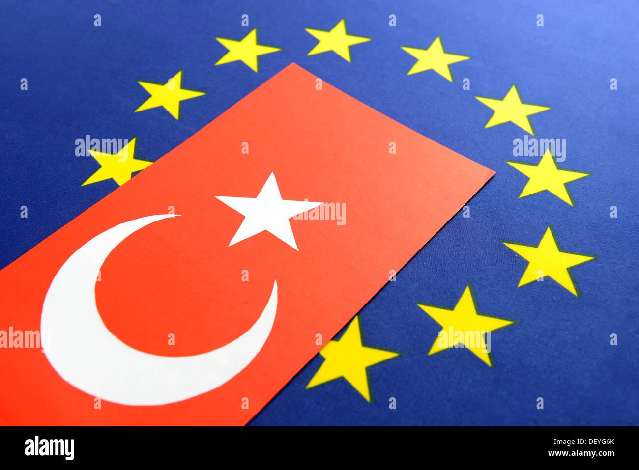Turkey flag and EU flag, EU negotiation of accession with Turkey - Stock Image