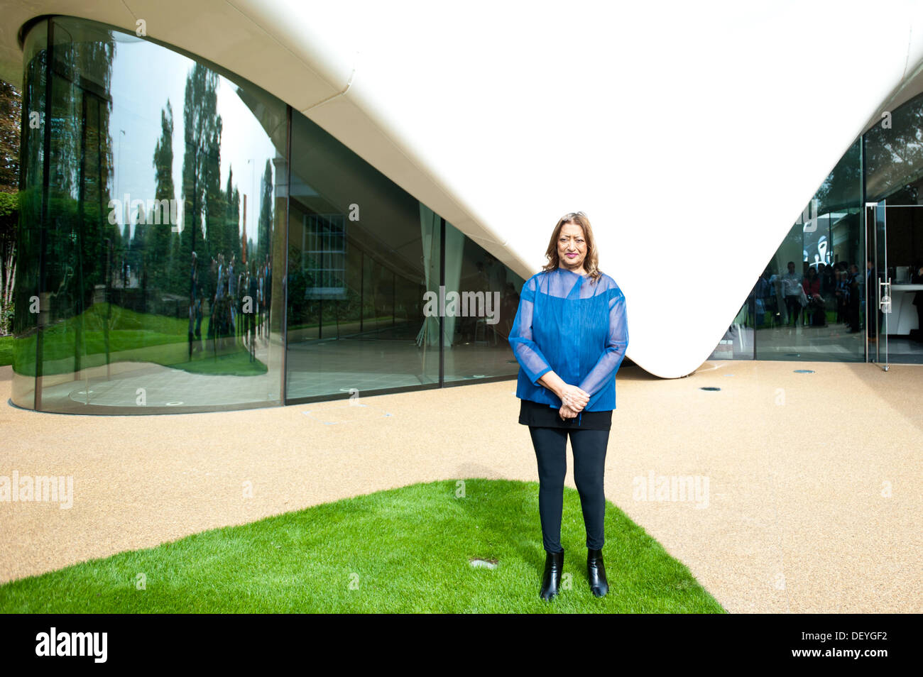 London, UK - 25 September 2013: architect Zaha Hadid poses for pictures in front of the new Serpentine Sackler Gallery Stock Photo