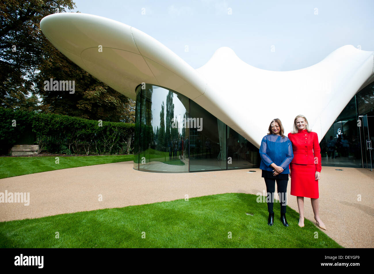 London, UK - 25 September 2013: architect Zaha Hadid (L) and Dame Theresa Sackler (R) pose for pictures in front Stock Photo