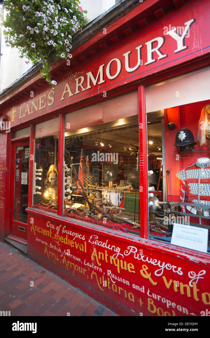 The Lanes Armoury, antique dealers in Arms, Armour, Militaria, Meeting House Lane, The Lanes, Brighton, East Sussex, England UK - Stock Image