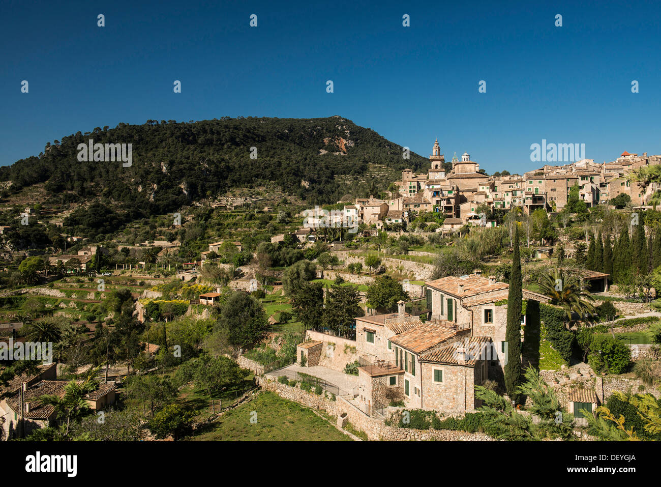 Town in the mountains, Valldemossa, Majorca, Balearic Islands, Spain Stock Photo