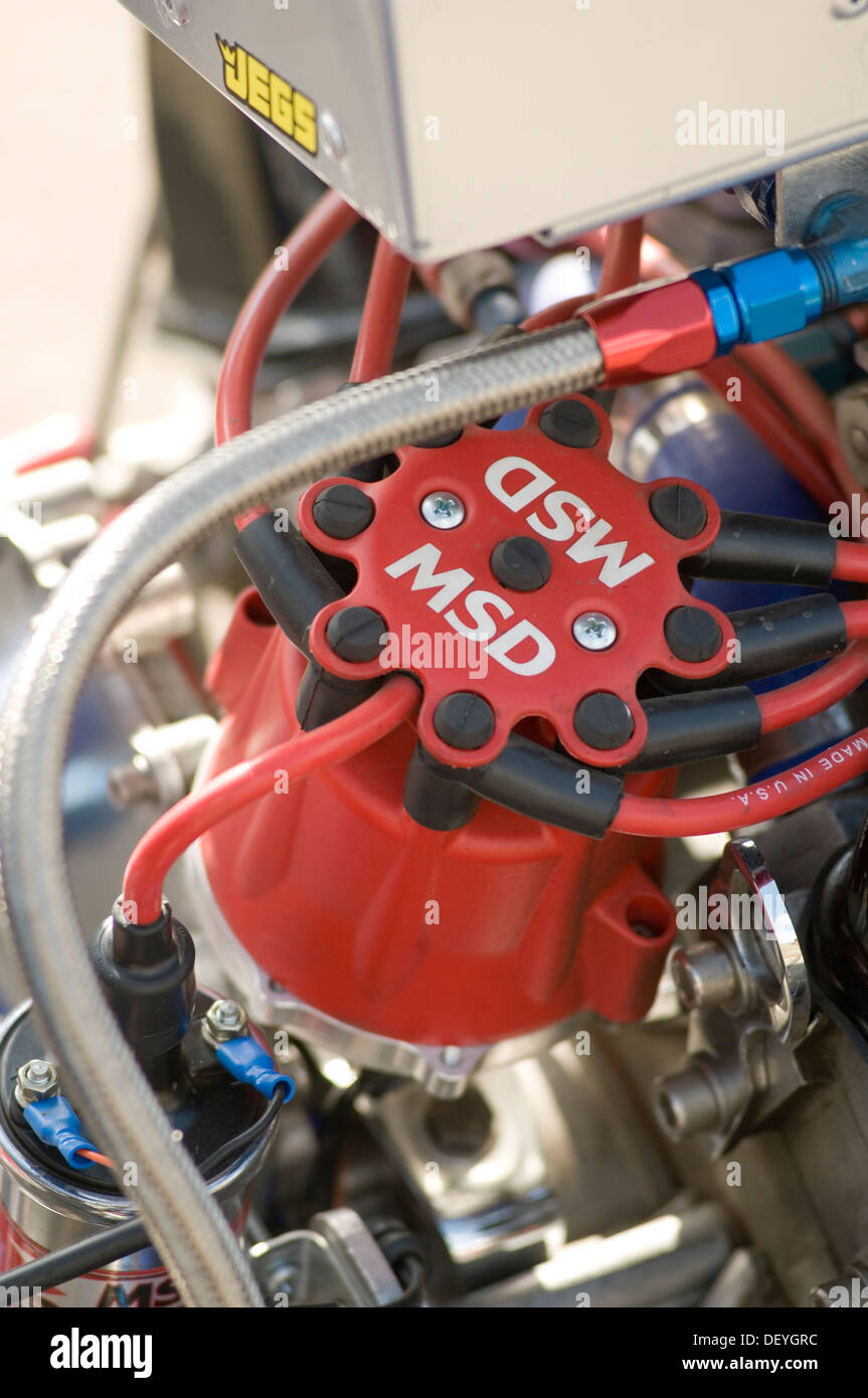 distributor cap plug leads ignition system on an internal combustion engine engines spark msd v8 high performance Stock Photo