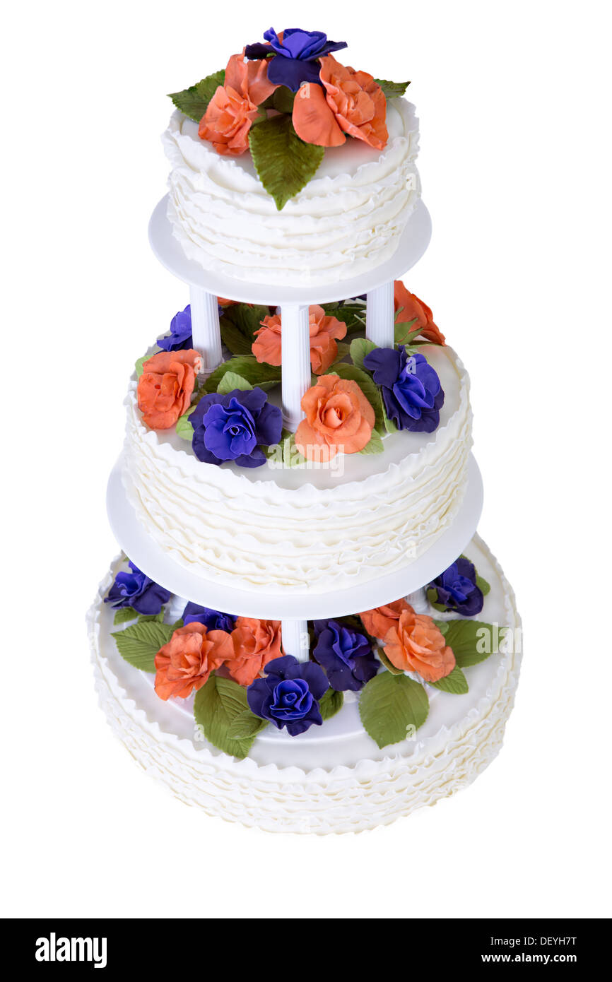 Wedding Cake Purple Three Tier Stock Photos & Wedding Cake Purple ...
