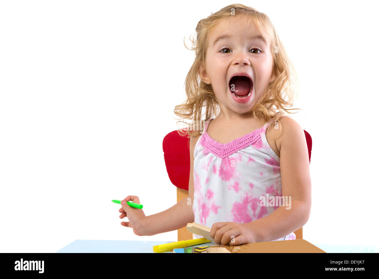 Toddler Girl Learning At The Table Very Excited Her Eyebrows Are