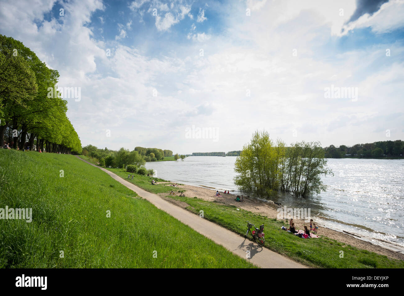 Rhine River shore of Schloss Benrath Palace, Benrath, Düsseldorf, Rhineland, North Rhine-Westphalia, Germany Stock Photo
