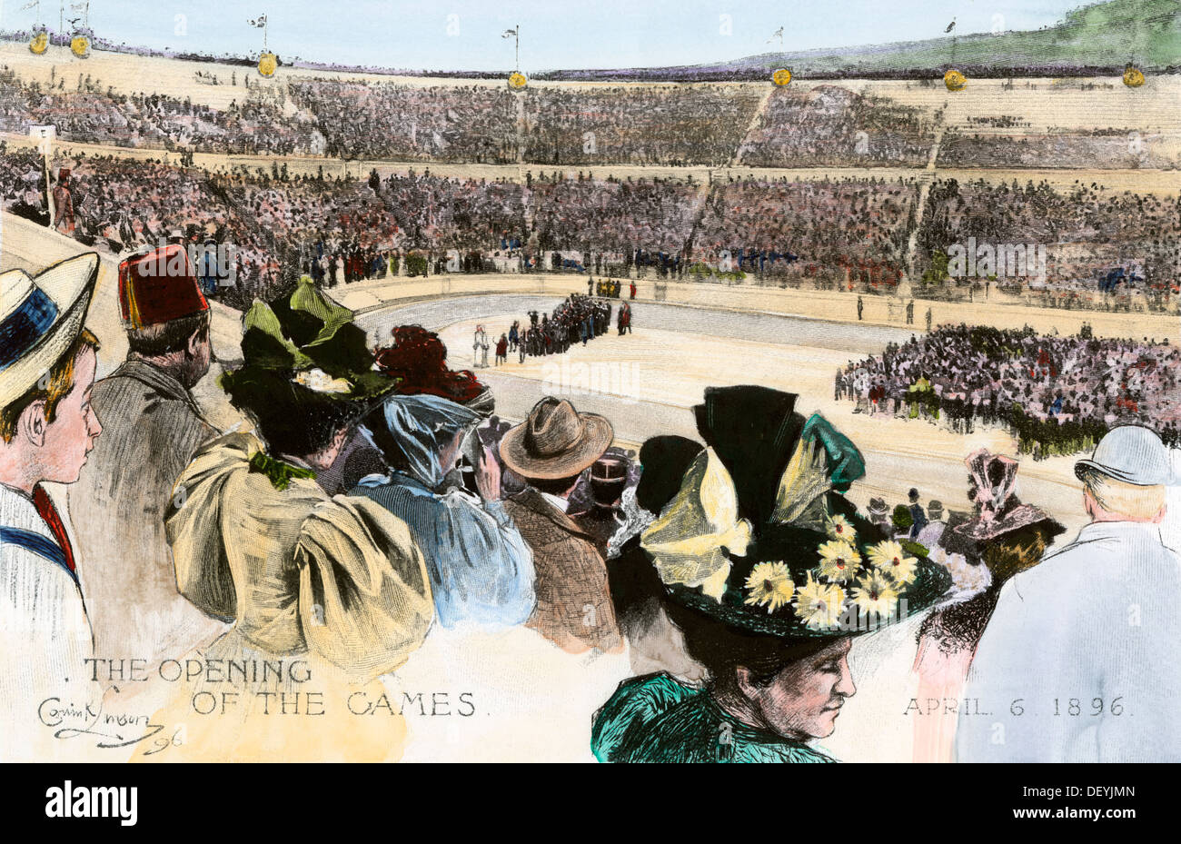 Opening ceremonies of the first modern Olympic Games in Athens, Greece, Hand-colored woodcut - Stock Image
