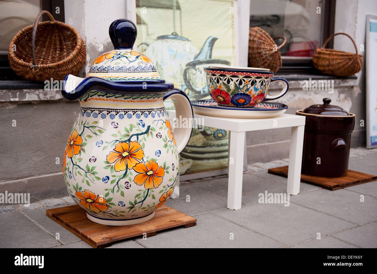 unique painted earthenware objects in Old Town - Stock Image