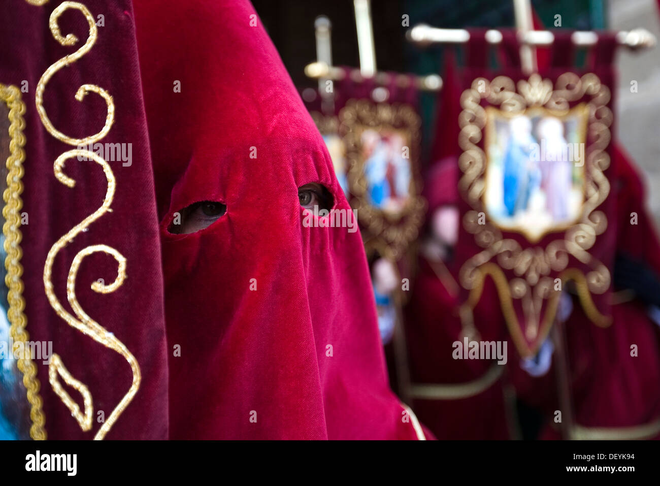 Penitent in a holy week procession in Ubeda, Jaén, Spain, Europe - Stock Image