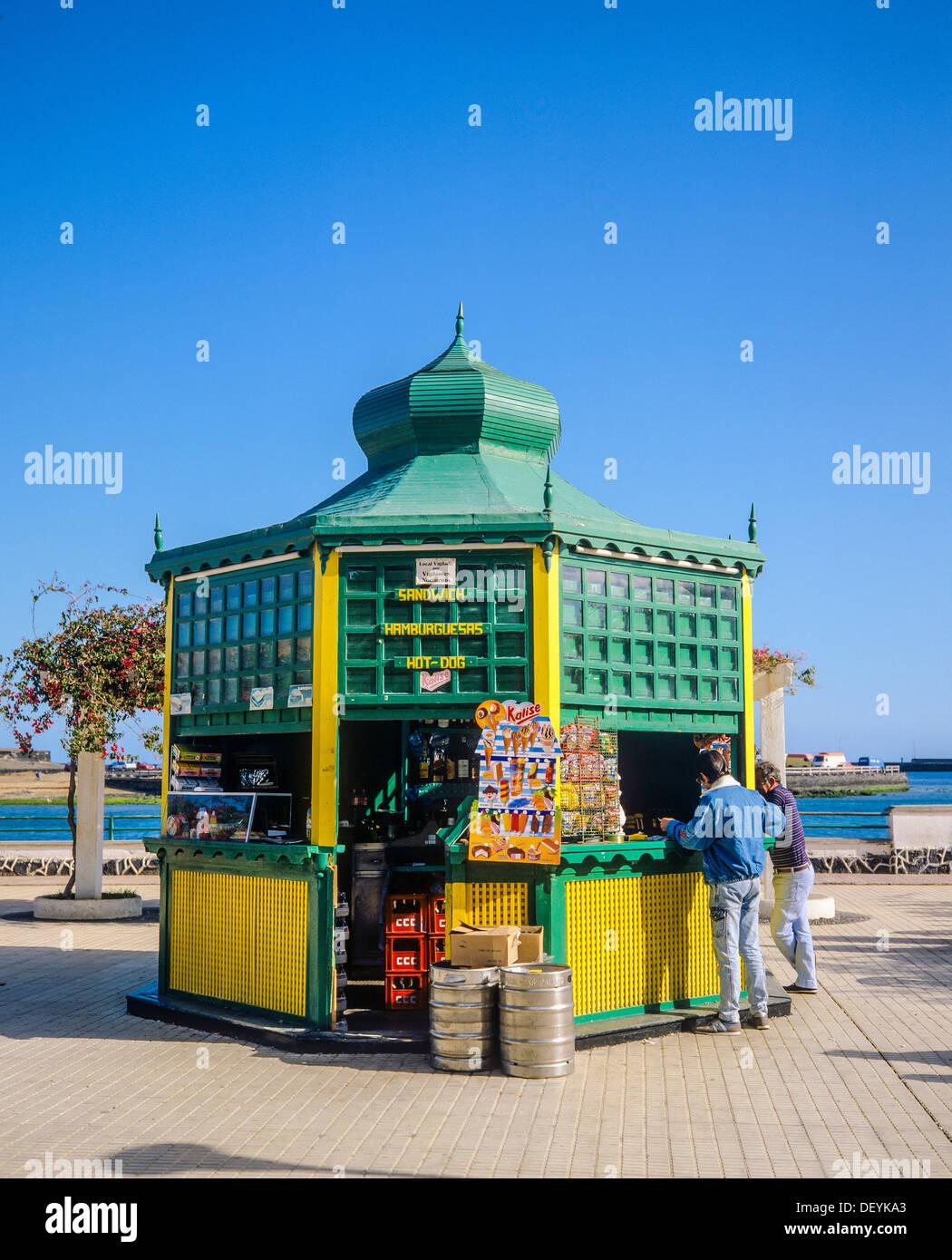 Coffee kiosk at sea promenade Arrecife Lanzarote Canary Islands Spain Stock Photo