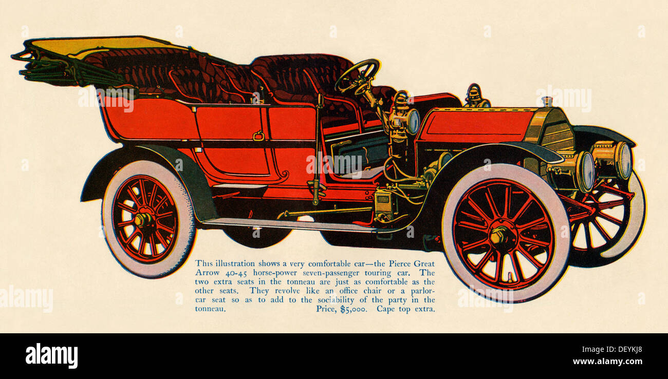 Pierce Great Arrow automobile, 1907, 40-45 horsepower, 7 passenger touring car, price $5,000. Color lithograph - Stock Image