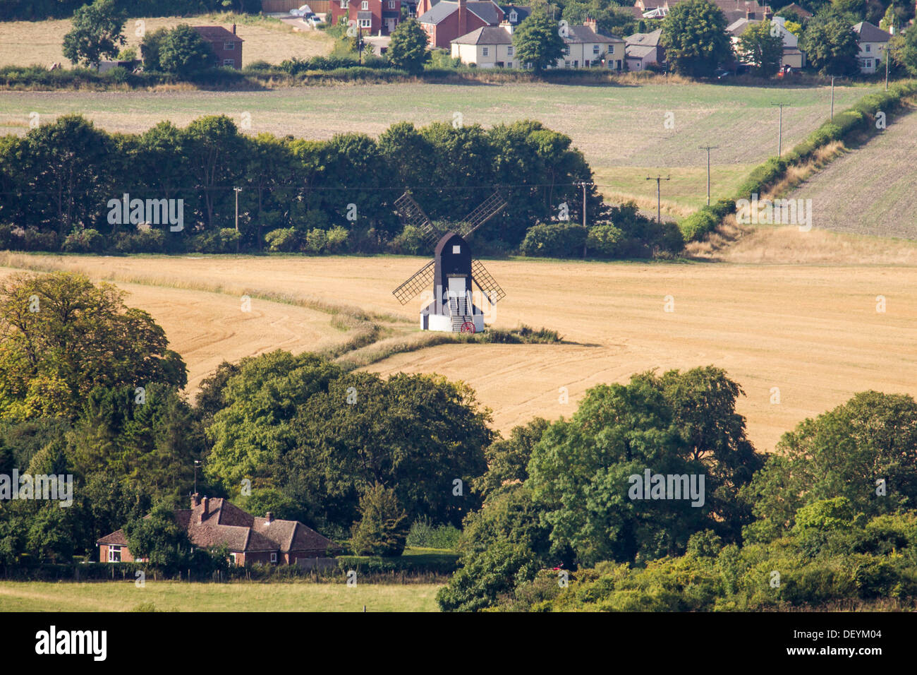 Pitstone Windmill, seen from the top of Ivinghoe Beacon, is one of the oldest windmills in Britain - Stock Image