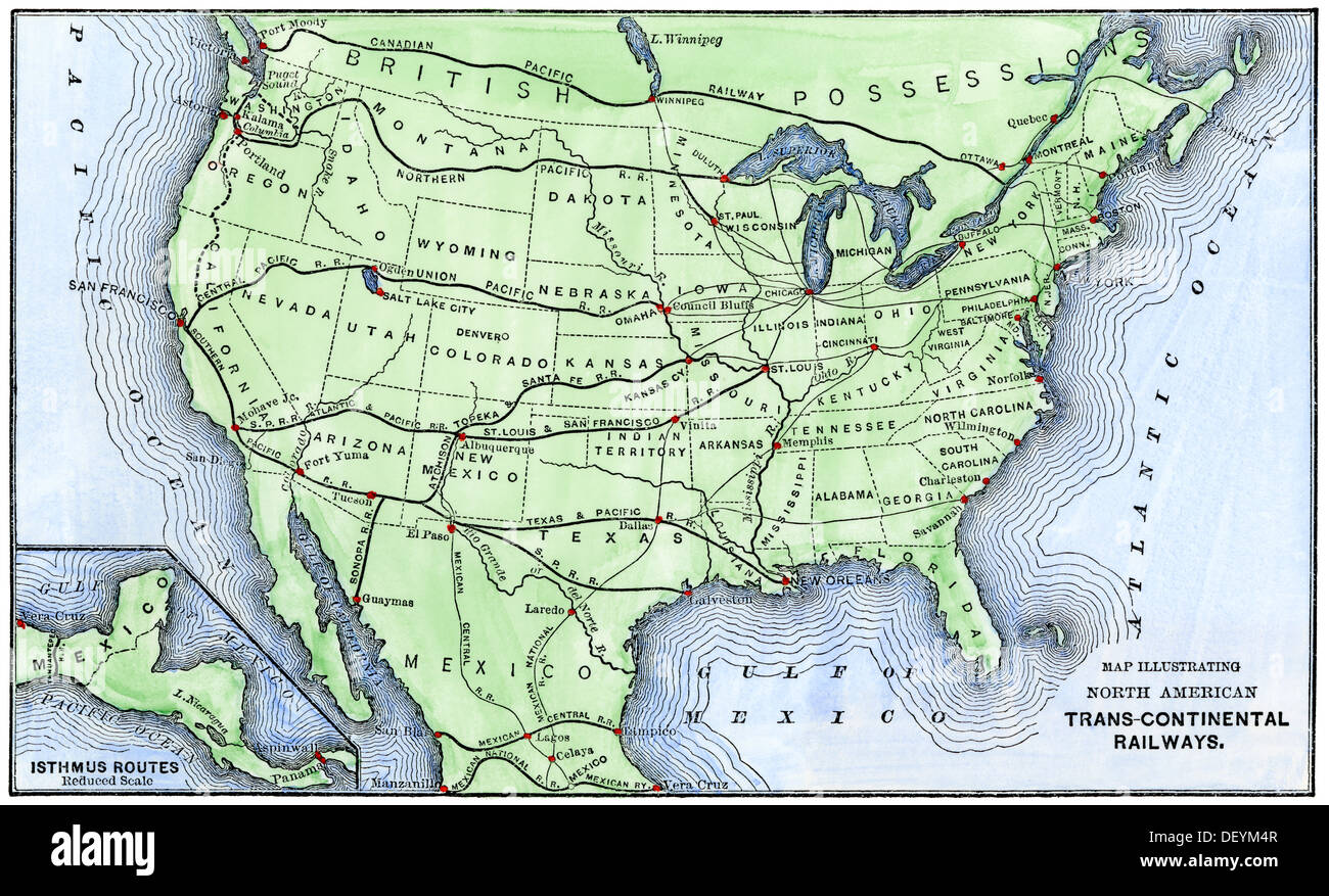 Map of the North American transcontinental railways, late 1800s