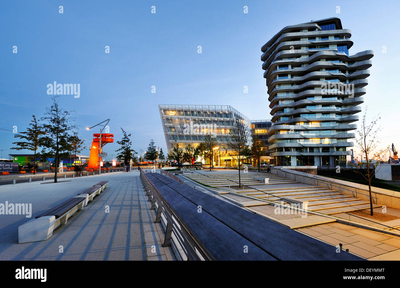 Marco-Polo-Tower and the Unilever headquarters on the Strandkai quay in the Hafencity district in Hamburg - Stock Image