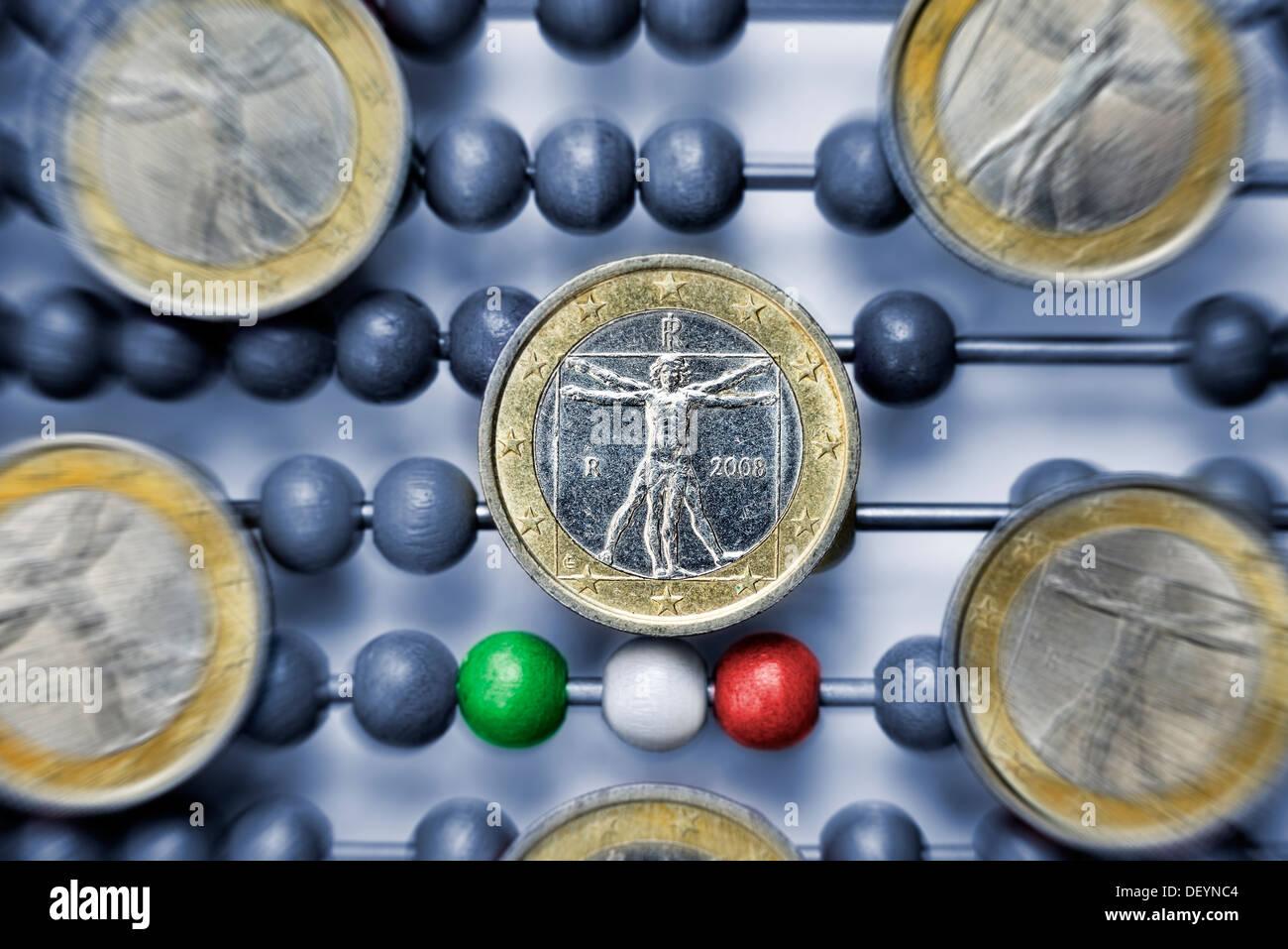 Slide rule with Italian eurocoins, debt crisis in Italy, Rechenschieber mit italienischen Euromünzen, Schuldenkrise in Italien - Stock Image