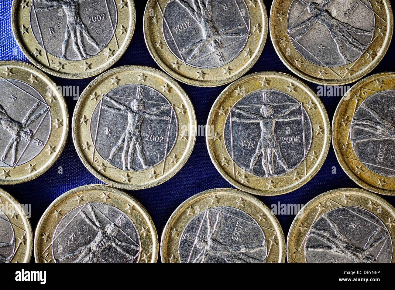Italian eurocoins, debt crisis in Italy, Italienische Euromünzen, Schuldenkrise in Italien - Stock Image