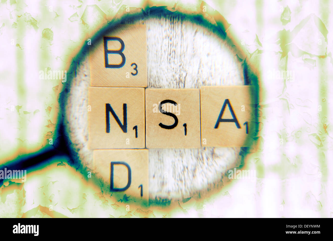 Stroke Federal Intelligence Service and NSA under the magnifying glass, cooperation of Federal Intelligence Service and NSA, Sch - Stock Image