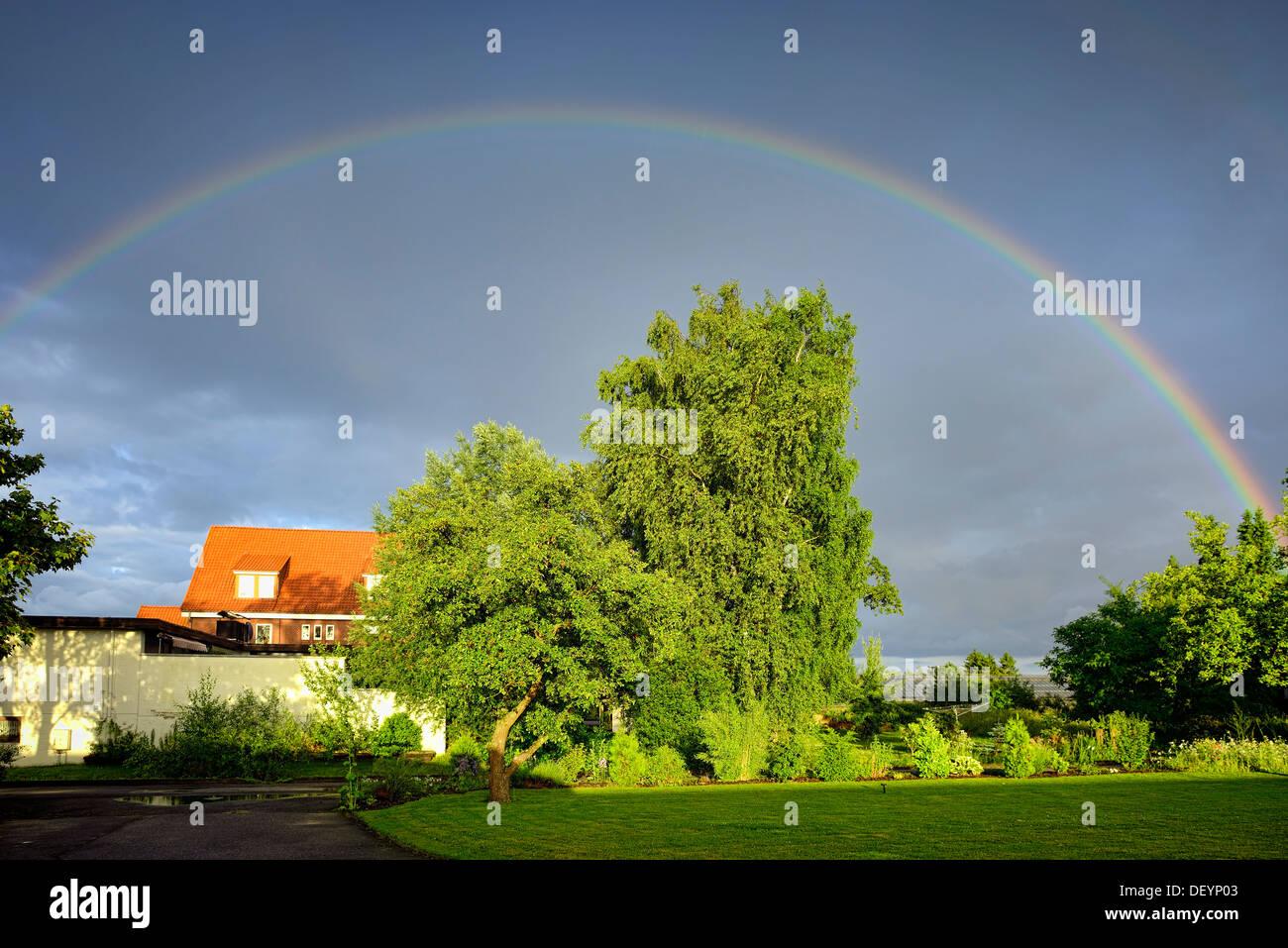 Rainbows in Kirchwerder, 4 and marshy land, Hamburg, Germany, Europe, Regenbogen in Kirchwerder, Vier- und Marschlande, Deutschl - Stock Image